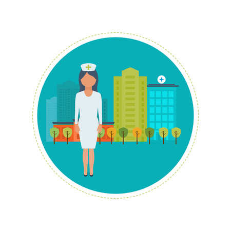 social history: Flat design modern vector illustration concept for healthcare, medical center and hospital building