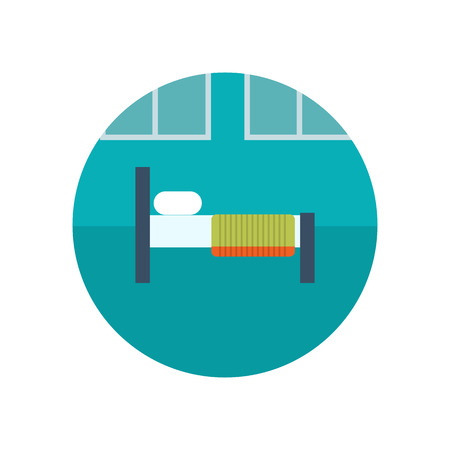 healthiness: Hospital bed flat icon. Healthcare system concept.