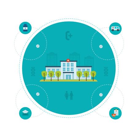 recover: Flat design modern vector illustration concept for healthcare, medical center and hospital building