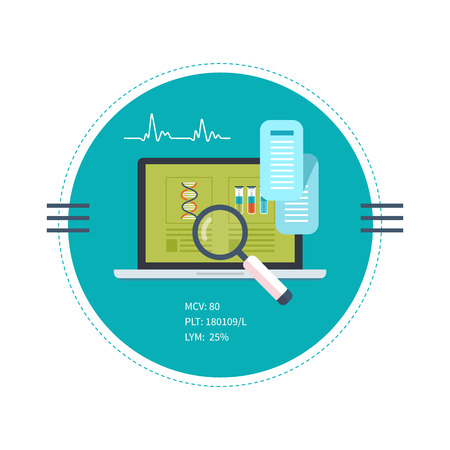 Flat design modern vector illustration concept for health care and online diagnosis. Healthcare system concept. Vector