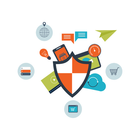 Flat shield icon. Data protection concept. Social network security, data protection and online shopping.  Illustration for web and mobile phone services and apps Vettoriali
