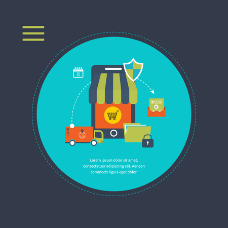 Online shopping concept. Flat design modern vector illustration icons set of mobile marketing, delivery and secure online shopping. Illustration for web and mobile phone services and apps Vector