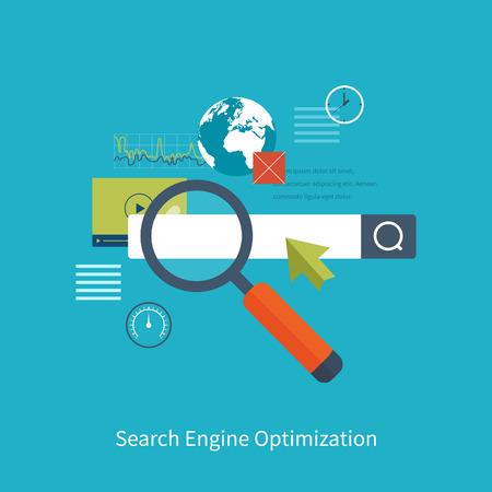 Jogo de design plano ilustração do vetor conceitos para search engine optimization e web analytics elementos. App móvel.