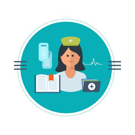 enfermera: Dise�o plano vector moderno concepto de ilustraci�n para el cuidado de la salud, la asistencia m�dica y la formaci�n de enfermeras. Ilustraci�n vectorial Vectores