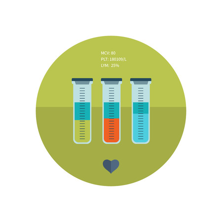 with liquids: Test tubes with colored liquids flat icon. Online medical diagnosis and medicine research. Flat design concepts for web banners and printed materials. Illustration
