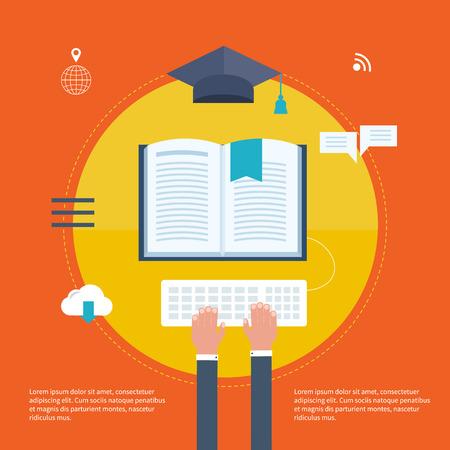 aprendizaje: Círculo completo de e-learning con iconos conjunto sobre la búsqueda supuesto, la presentación, la educación en línea