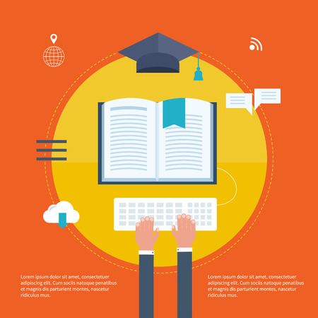 library book: Full circle of e-learning with set icons about course search, presentation, online education Illustration