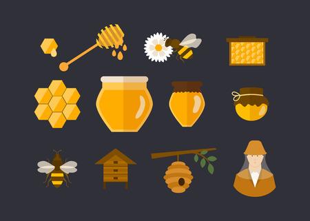 peineta: Piso de diseño vectorial Ilustración del concepto con los iconos de jardín productos apicultor. Ilustración vectorial