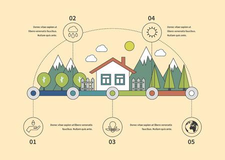bioedilizia: Ecologia illustrazione elementi infographic Design piatto. Vita Eco. Concetto di bioedilizia e eco friendly. Icone linea sottile