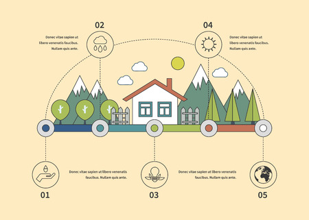 ECO: Ecology illustration infographic elements flat design. Eco life. Concept of green building and eco friendly. Thin line icons Illustration