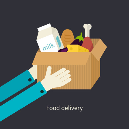 paper delivery person: Flat design colorful vector illustration concept for grocery delivery isolated on bright background Illustration