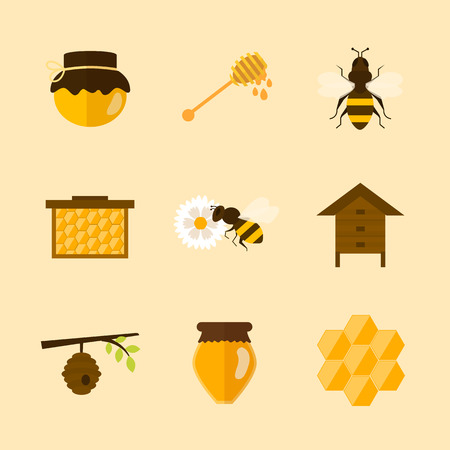 beekeeper: Flat design vector concept illustration with icons of  products bee-keeper and best product organic natural honey bee