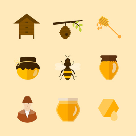 bee pollen: Flat design vector concept illustration with icons of  products bee-keeper and best product organic natural honey bee
