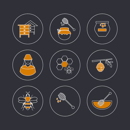 beekeeper: Flat design vector concept illustration with icons of  products bee-keeper and best product organic natural honey bee.  Thin line icons.