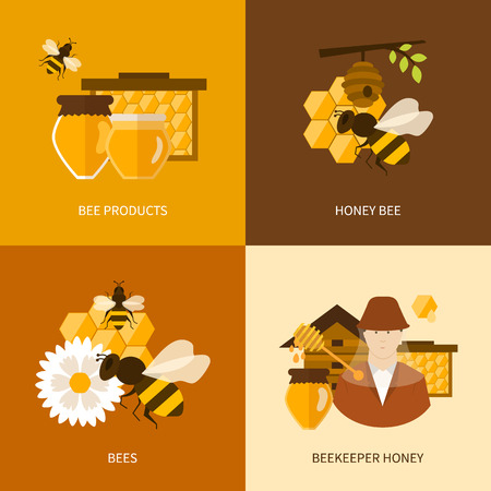 beekeeper: Flat design vector concept illustration with icons of  products bee-keeper, best product organic natural honey bee and beekeeper honey