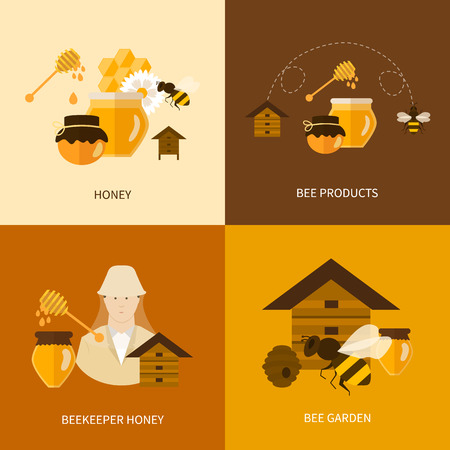 Flat design vector concept illustration with icons of  products bee-keeper, best product organic natural honey bee and beekeeper honey