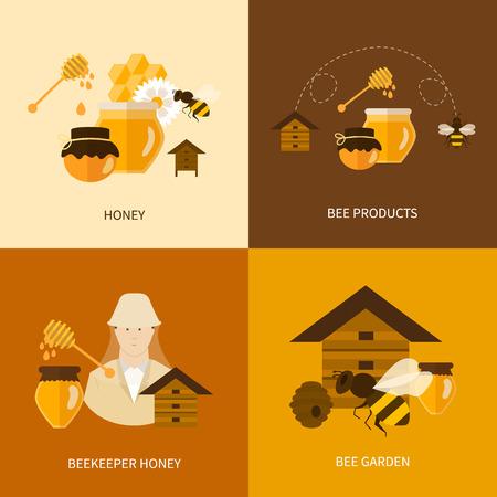 abejas: Piso de dise�o vectorial Ilustraci�n del concepto con los iconos de los productos apicultor, mejor org�nica abeja de la miel natural, productos y miel apicultor