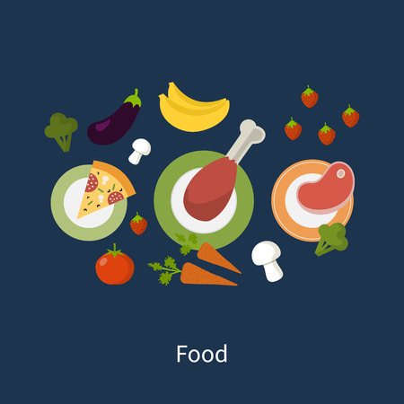 Set of flat design concept icons for food and restaurant. Icons for cooking, fruits and vegetables, vegetarian food.