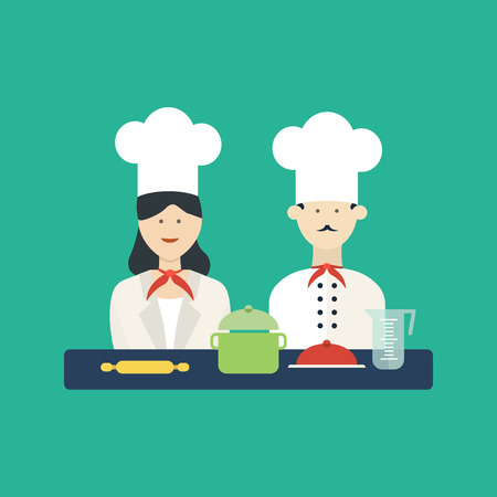 Flat design concept icons of kitchen utensils with a chefs. Cooking tools and kitchenware equipment, serve meals and food preparation elements. Vettoriali