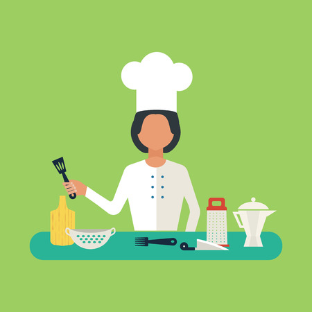 cartoon menu: Flat design concept icons of kitchen utensils with a chef. Cooking tools and kitchenware equipment, serve meals and food preparation elements. Illustration