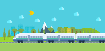 Train on railway with forest and mountains background. Flat vector illustration.