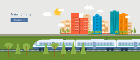 Flat design modern vector illustration icons set of urban landscape and train on railway Vettoriali