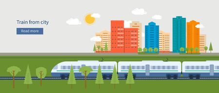 Platte ontwerp moderne vector illustratie iconen set van stedelijk landschap en de trein op het spoor Stock Illustratie
