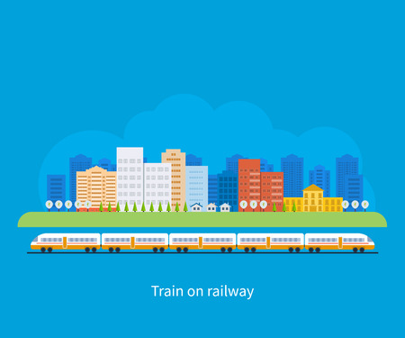 urban jungle: Flat design modern vector illustration icons set of urban landscape and train on railway Illustration