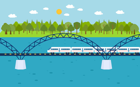 bridge forest: Train on railway bridge. Forest and lake on background. Flat style vector illustration.