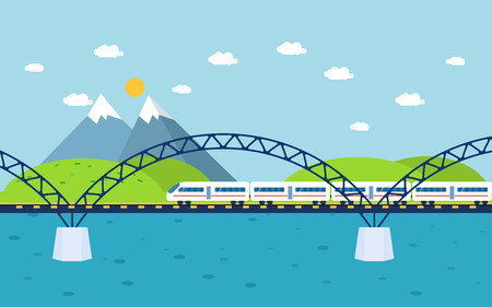forest railway: Train on railway bridge. Forest, river and mountains in the background. Flat style vector illustration.
