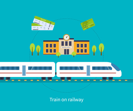 railways: Railway station concept. Train on railway. Flat icons vector illustration.