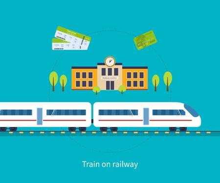 treno espresso: Stazione concetto stazione. Treno sulla ferrovia. Icone piatti illustrazione vettoriale.