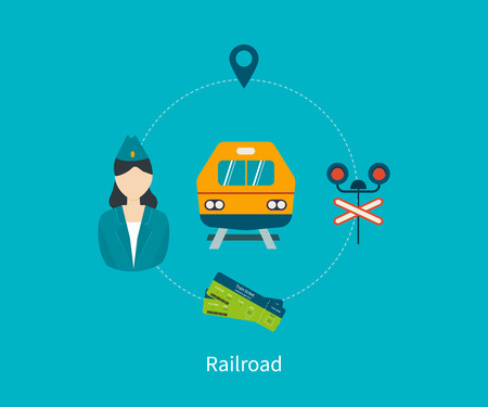 railway: Railway station concept. Train on railway. Flat icons vector illustration.