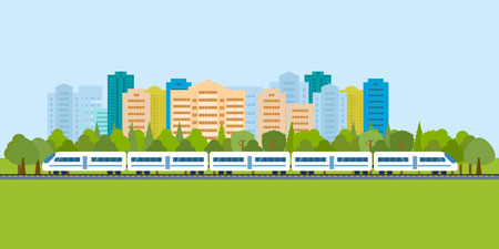 modern train: Flat design modern vector illustration icons set of urban landscape and train on railway Illustration