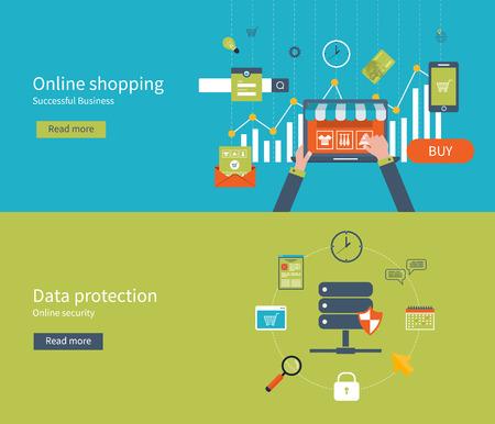 데이터 보호, 인터넷 보안 및 온라인 쇼핑을위한 평면 디자인 벡터 일러스트 레이 션의 개념을 설정합니다. 웹 배너 및 인쇄 재료에 대한 개념.