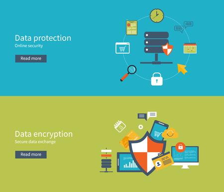 데이터 보호, 안전한 작업 및 데이터 암호화를위한 평면 디자인, 벡터 일러스트 레이 션 개념을 설정합니다. 웹 배너 및 인쇄 재료에 대한 개념.