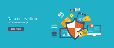 secure data: Data protection set with encryption secure data exchange. Flat icons isolated vector illustration