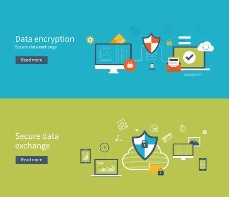 데이터 보호, 데이터 암호화 및 안전한 데이터 교환을위한 평면 디자인, 벡터 일러스트 레이 션 개념을 설정합니다. 웹 배너 및 인쇄 재료에 대한 개념. 일러스트