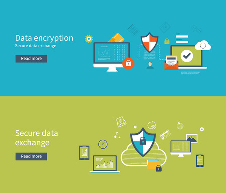 data: Set of flat design vector illustration concepts for data protection, data encryption and secure data exchange. Concepts for web banners and printed materials.