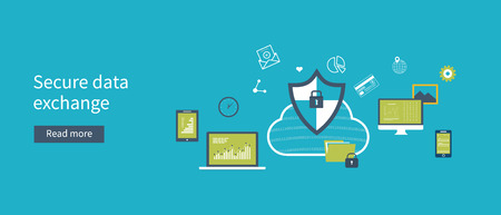 encryption: Set of flat design vector illustration concepts for data protection, data encryption and secure data exchange. Concepts for web banners and printed materials.