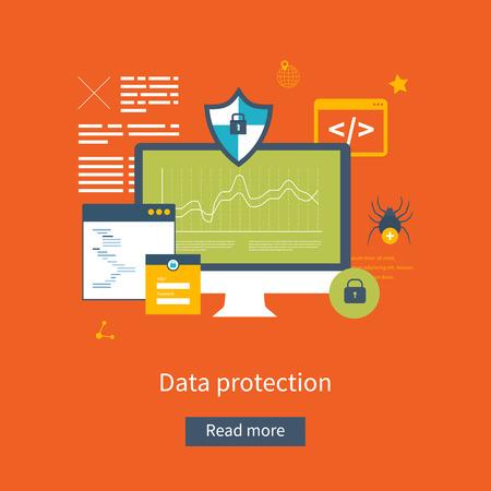 フラットなデザインのベクトル図概念データ保護、安全な職場、インター ネット セキュリティの設定。ウェブのバナーや印刷物の概念。