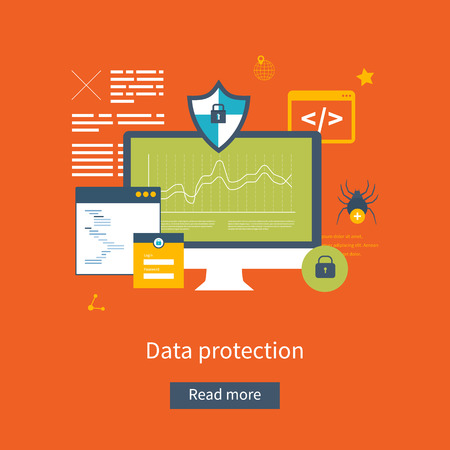 social system: Set of flat design vector illustration concepts for data protection, safe work and internet security. Concepts for web banners and printed materials.