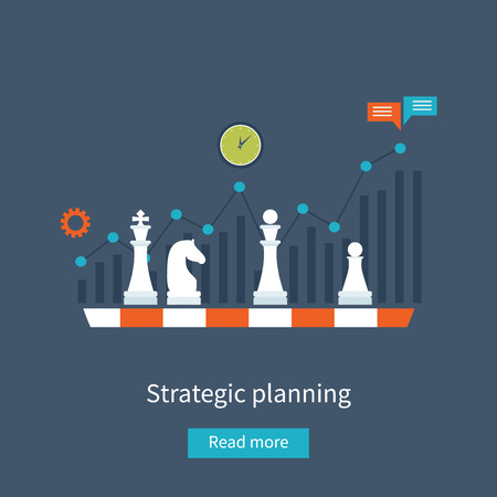 strategy decisions: Set of flat design vector illustration concepts for data analysis, strategy planning and successful business