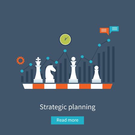 Set van platte ontwerp vector illustratie concepten voor data-analyse, strategie planning en succesvol bedrijf