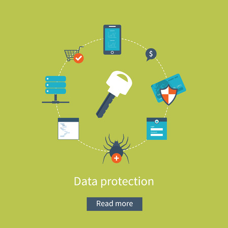 Set of flat design vector illustration concepts for data protection, safe work and virus protection. Concepts for web banners and printed materials. Vettoriali