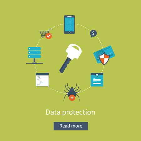 work safe: Set of flat design vector illustration concepts for data protection, safe work and virus protection. Concepts for web banners and printed materials. Illustration