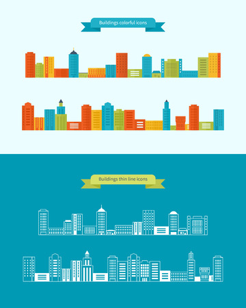 Flat design modern vector illustration icons set of urban landscape and city life. Buildings colorful and thin line icons Vector