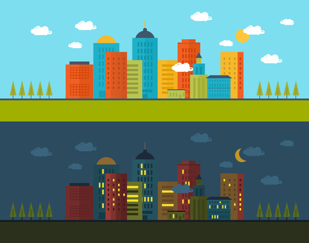 Flat design modern vector illustration icons set of urban landscape and city life in day and night. Building icon Vector