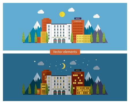 dia y noche: Piso de diseño modernos ilustración vectorial conjunto de iconos del paisaje urbano y la vida de la ciudad en el día y la noche. Icono de construcción