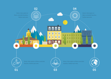 Ecology illustration infographic elements flat design. City landscape. Flat design vector concept illustration with icons of ecology, environment, eco friendly. Buildings icons. Vector